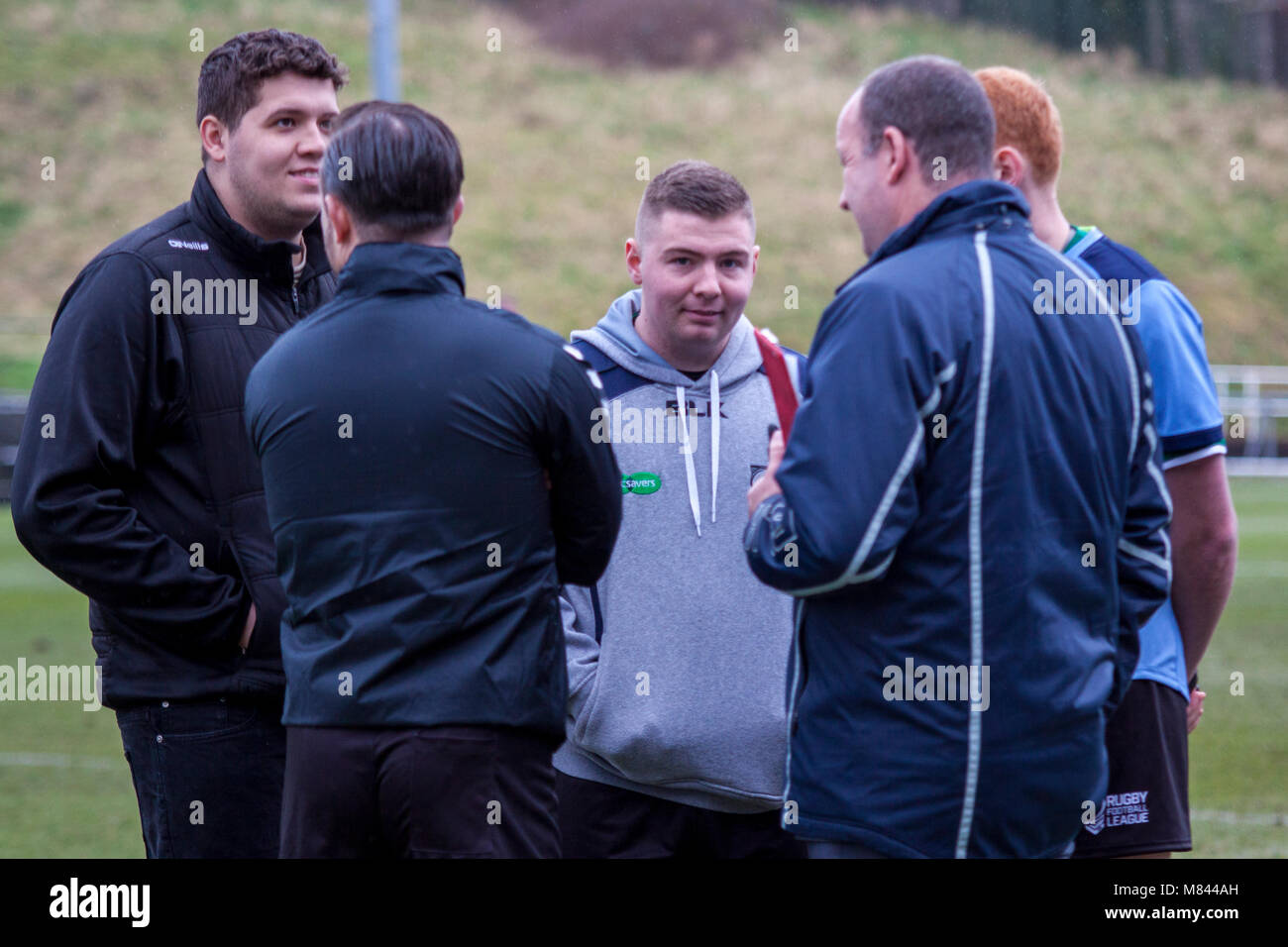 Match Officials discuss the postponement of West Wales Raiders v Newcastle Thunder - Stock Image