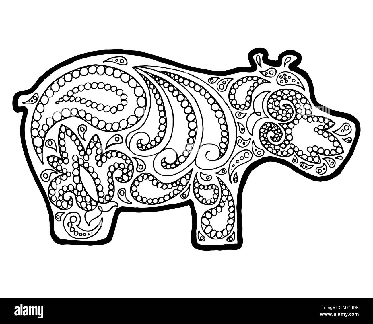 Animal Zen Vector Illustration Coloring Book Hippopotamus Black And White