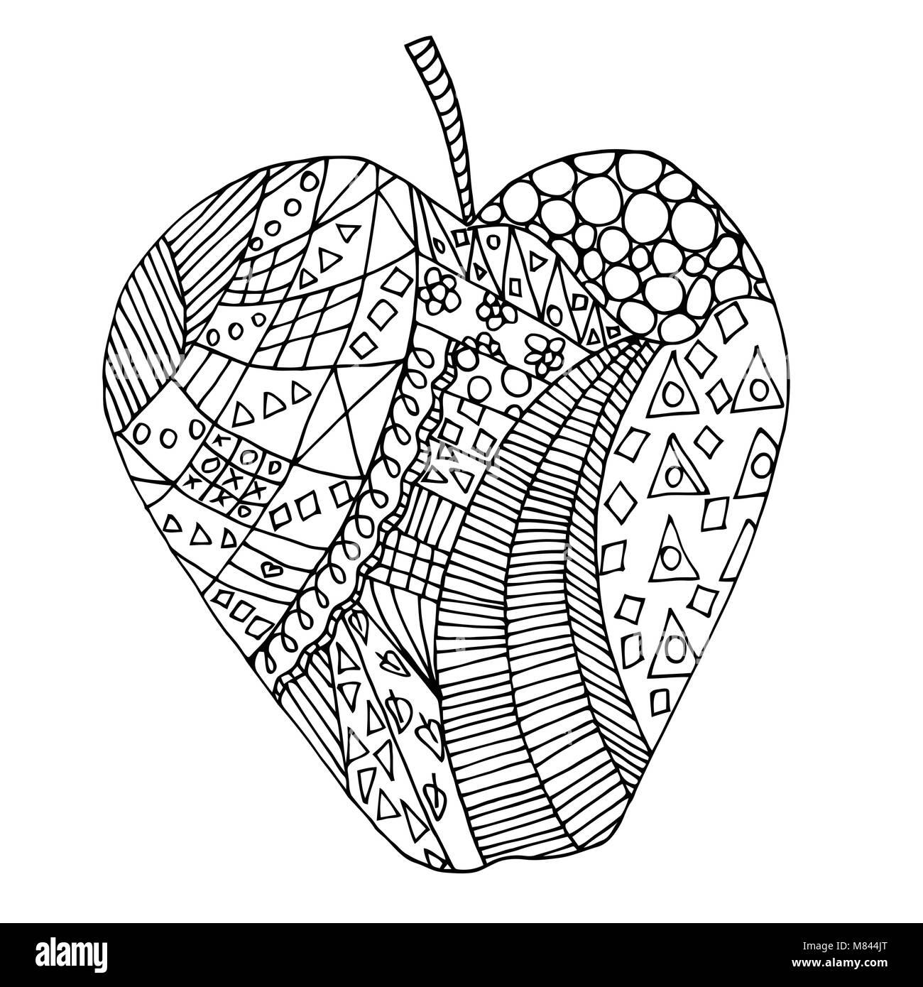 Apple zen tangle. Doodle fruit vector illustration. Coloring book ...
