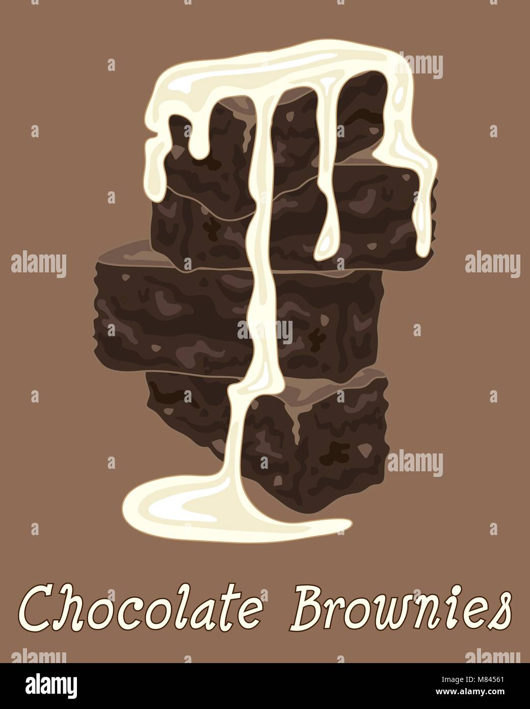 a vector illustration in eps format of a stack of chocolate brownies with cream on a brown background - Stock Image