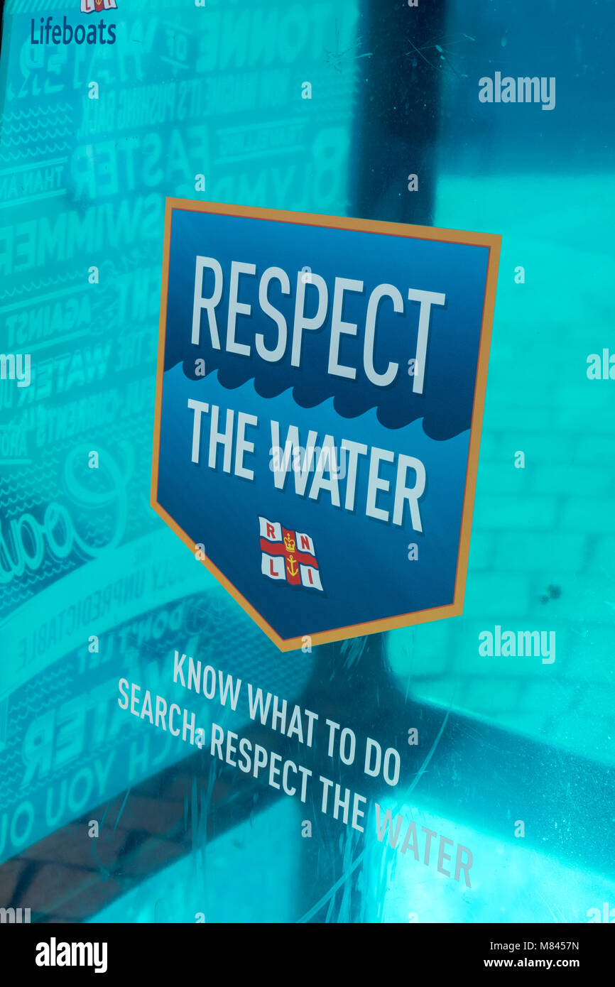 RNLI Respect the water - Stock Image