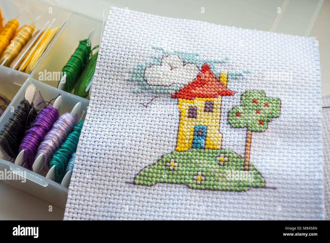 Embroidery Threads For Cross Stitch In A Storage Box With Completed Cross  Stitch   Stock Image