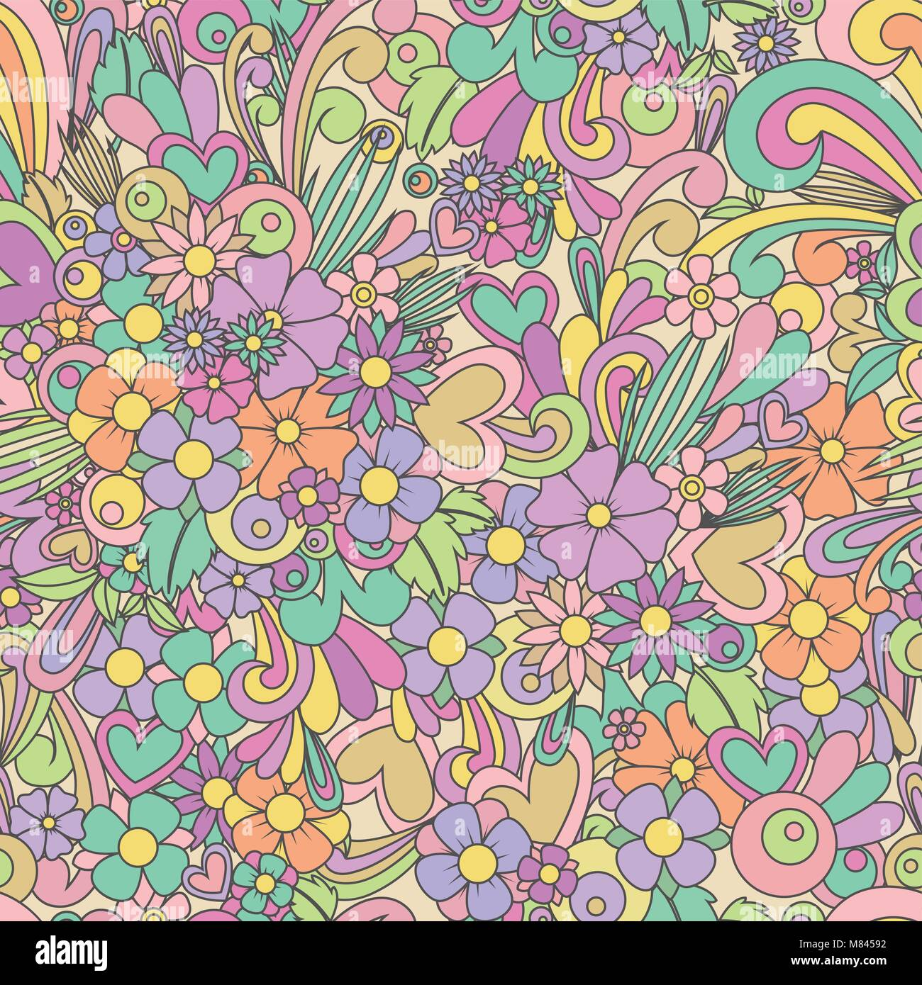 Wallpaper with zentangle flowers and hearts. Floral vector seamless pattern backgrouns. Zen tangle and doodle.