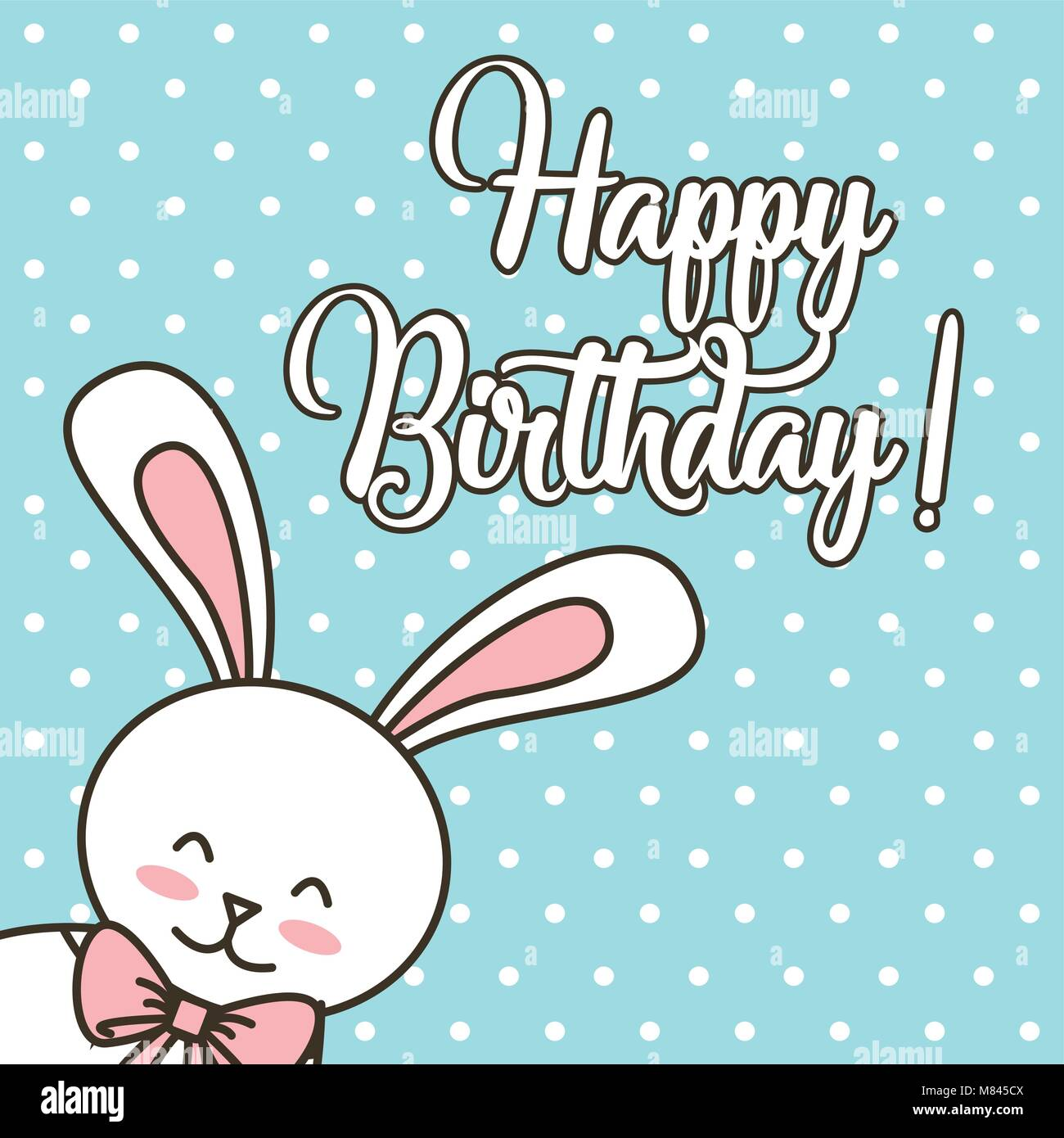 Happy Birthday Card Cartoon Cute Bunny With Bow Vector Illustration