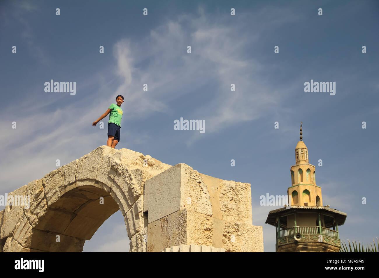 Kids enjoy the game in Damascus. - Stock Image