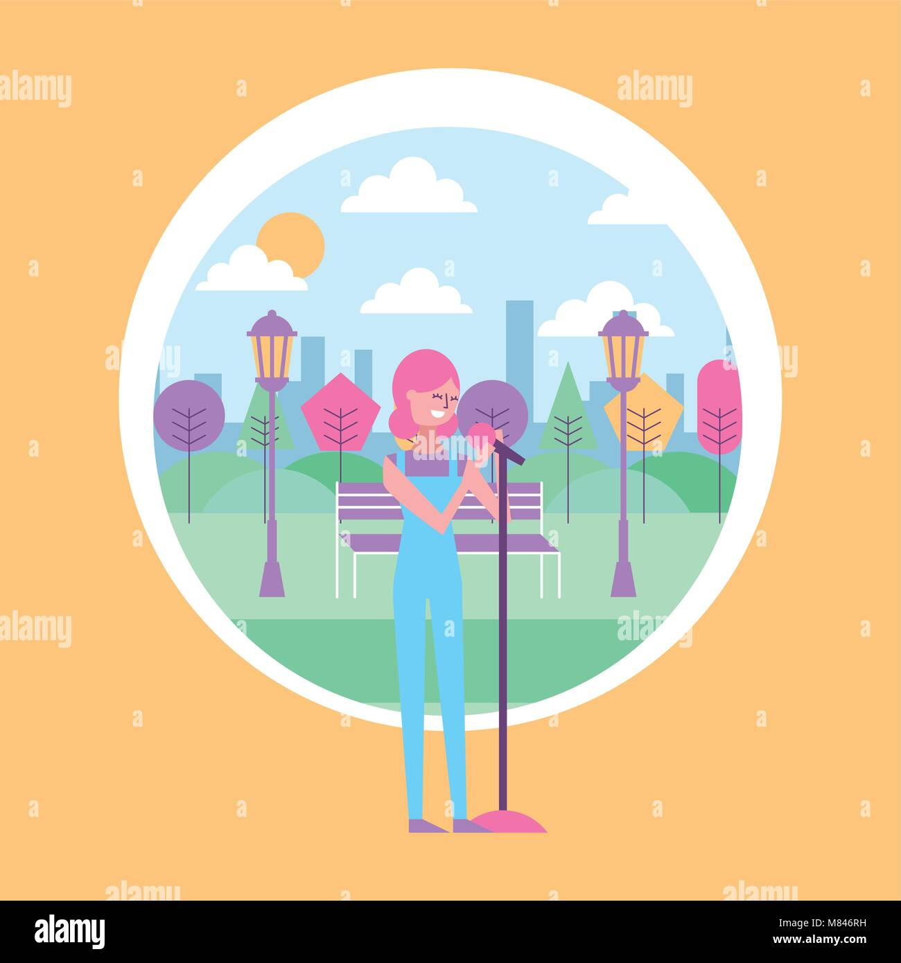 woman sings with microphone in the park with urban background vector illustration - Stock Vector