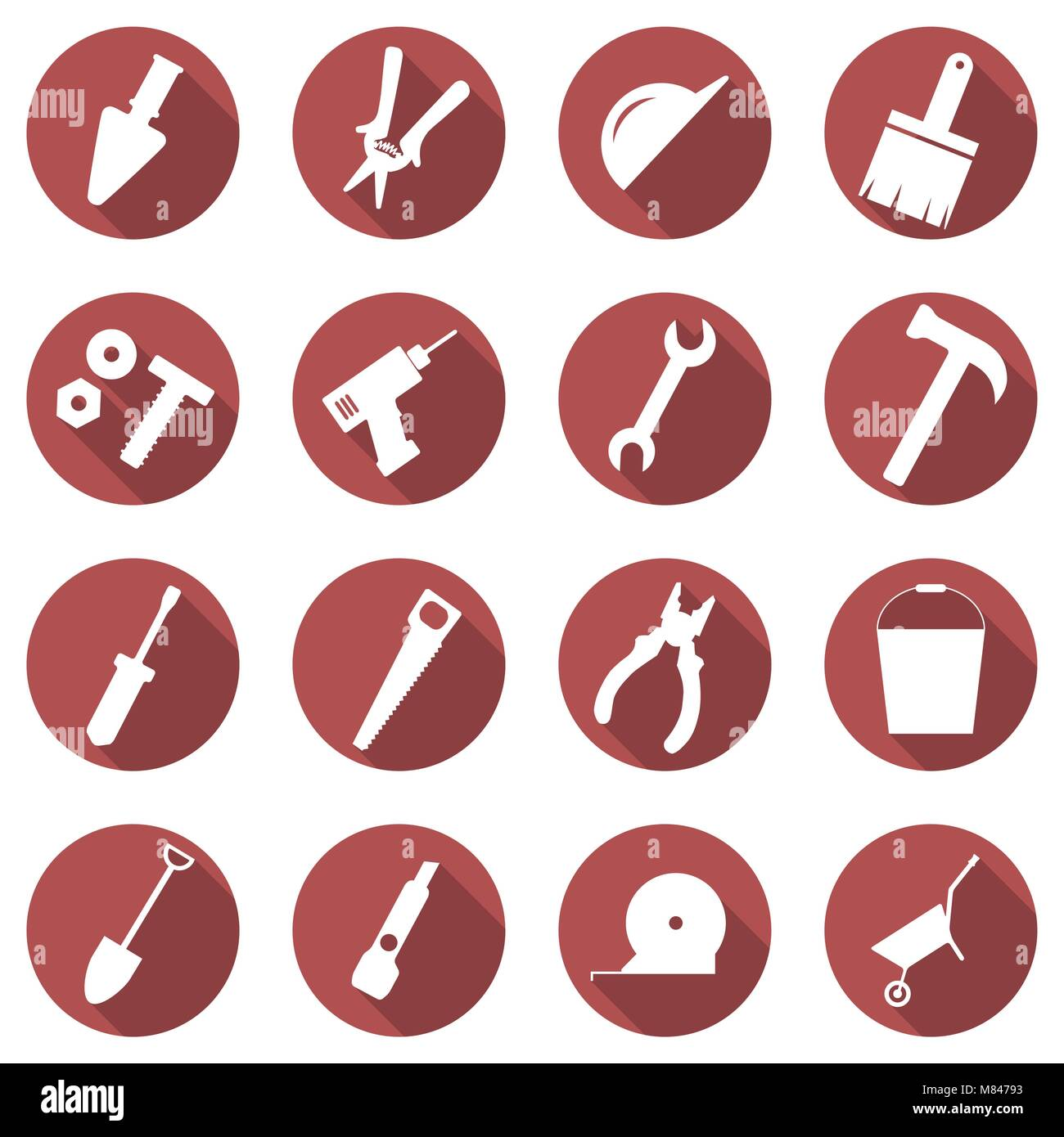 Vector set of building concept icons. Flat images of tools. Badges in the red circle - Stock Image
