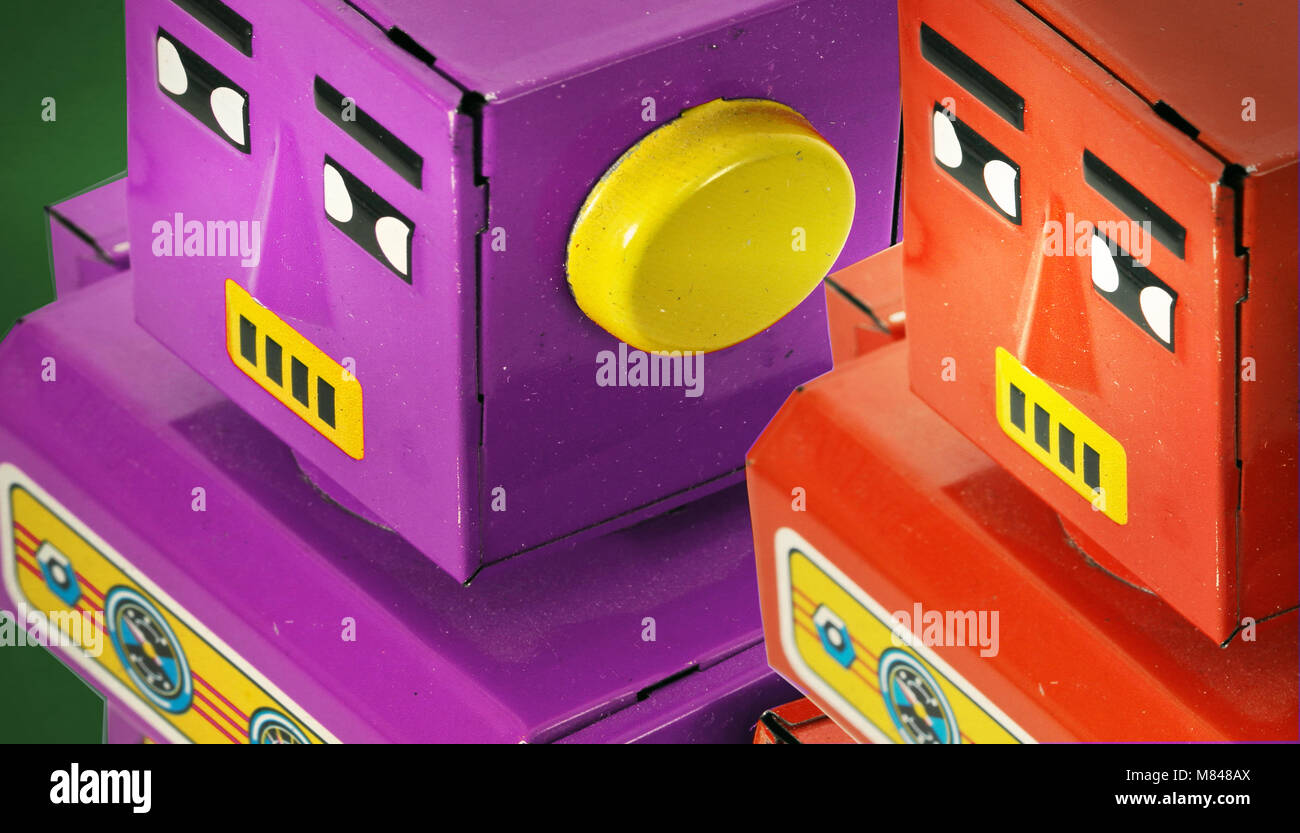 two retro robots looking on Stock Photo