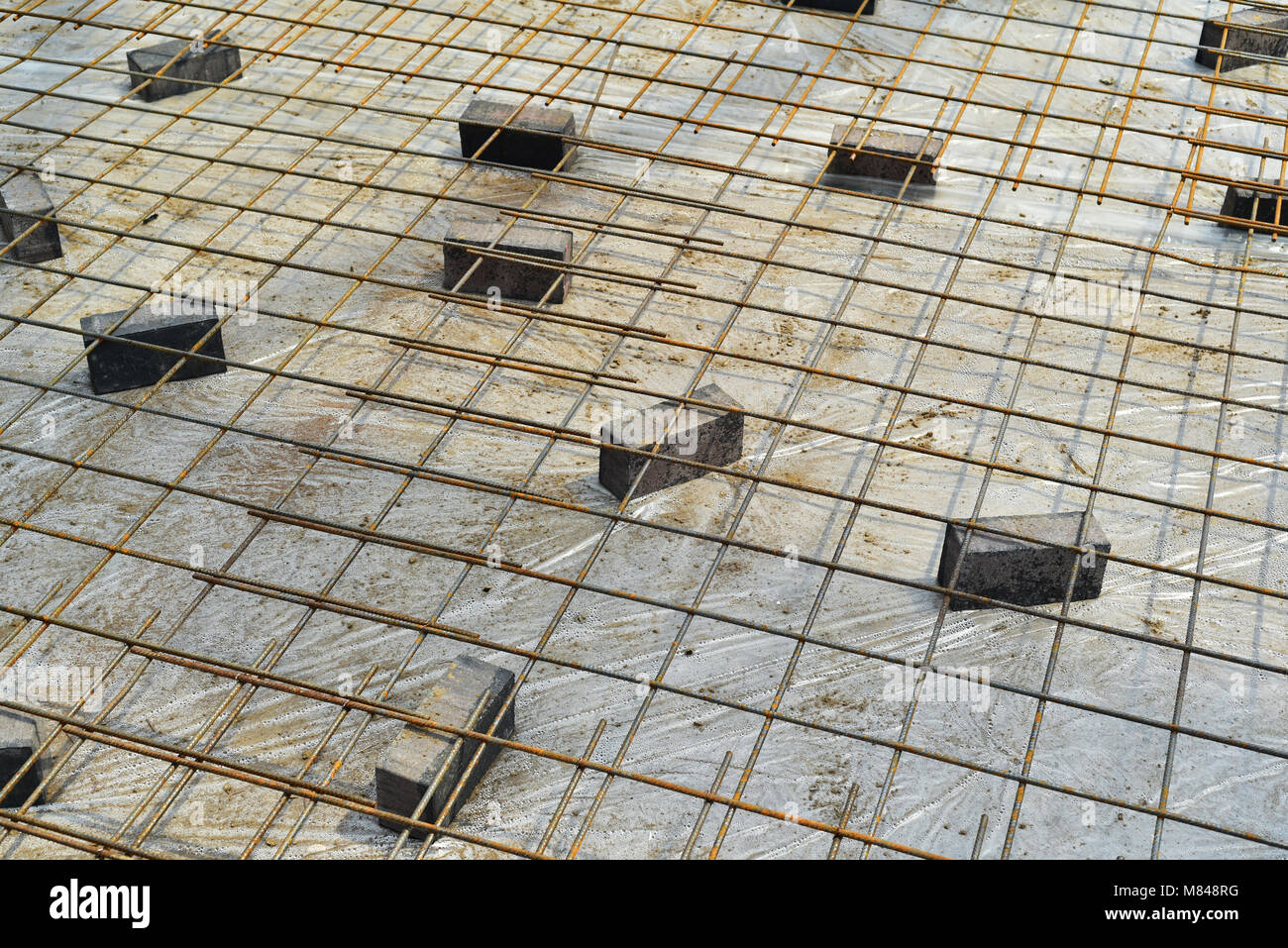 Iron Rebar, ready for concrete to be poured - Stock Image