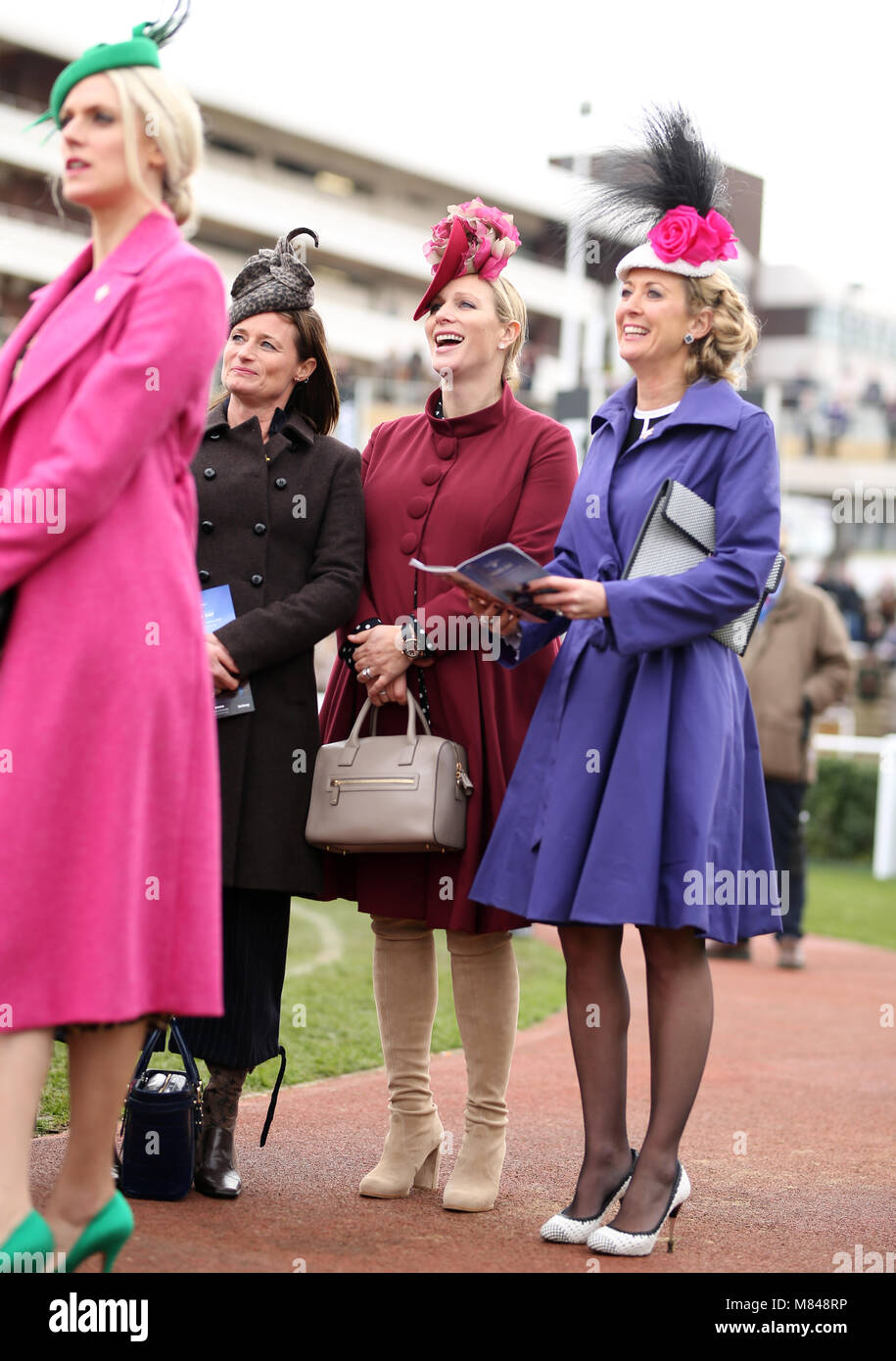 1e3e51fa2 Zara Tindall (centre) during Ladies Day of the 2018 Cheltenham Stock ...