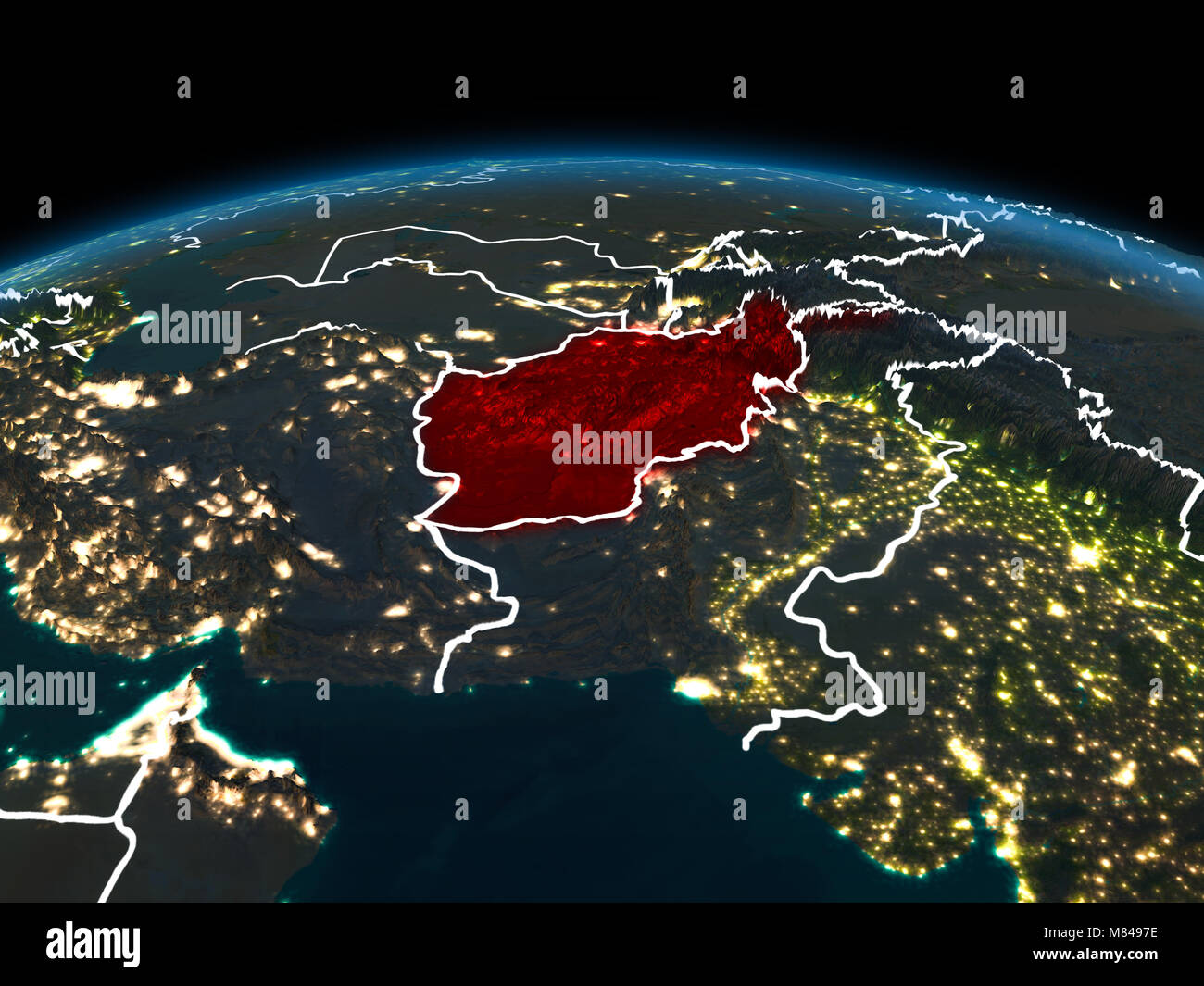 Space orbit view of afghanistan highlighted in red on planet earth space orbit view of afghanistan highlighted in red on planet earth at night with visible country borders and city lights 3d illustration elements of gumiabroncs Image collections