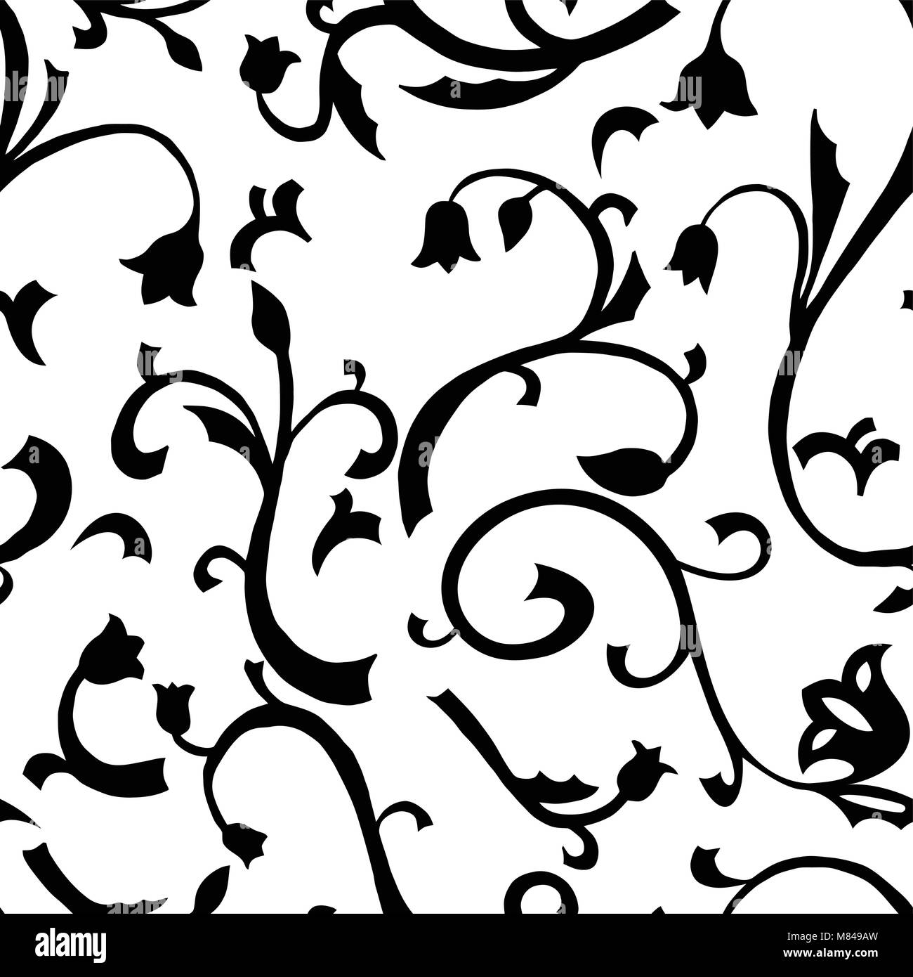 Seamless Pattern White Background With Black Abstract Flower Vector
