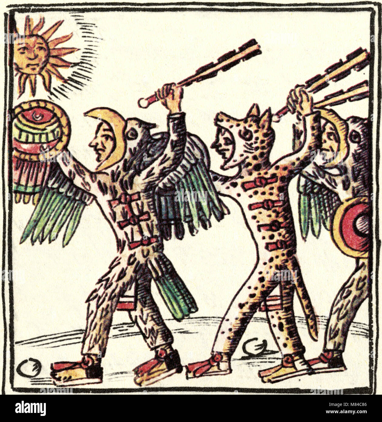 Florentine Codex. An illustration from the Florentine Codex depicting Aztec warriors carrying macuahuitls - Stock Image