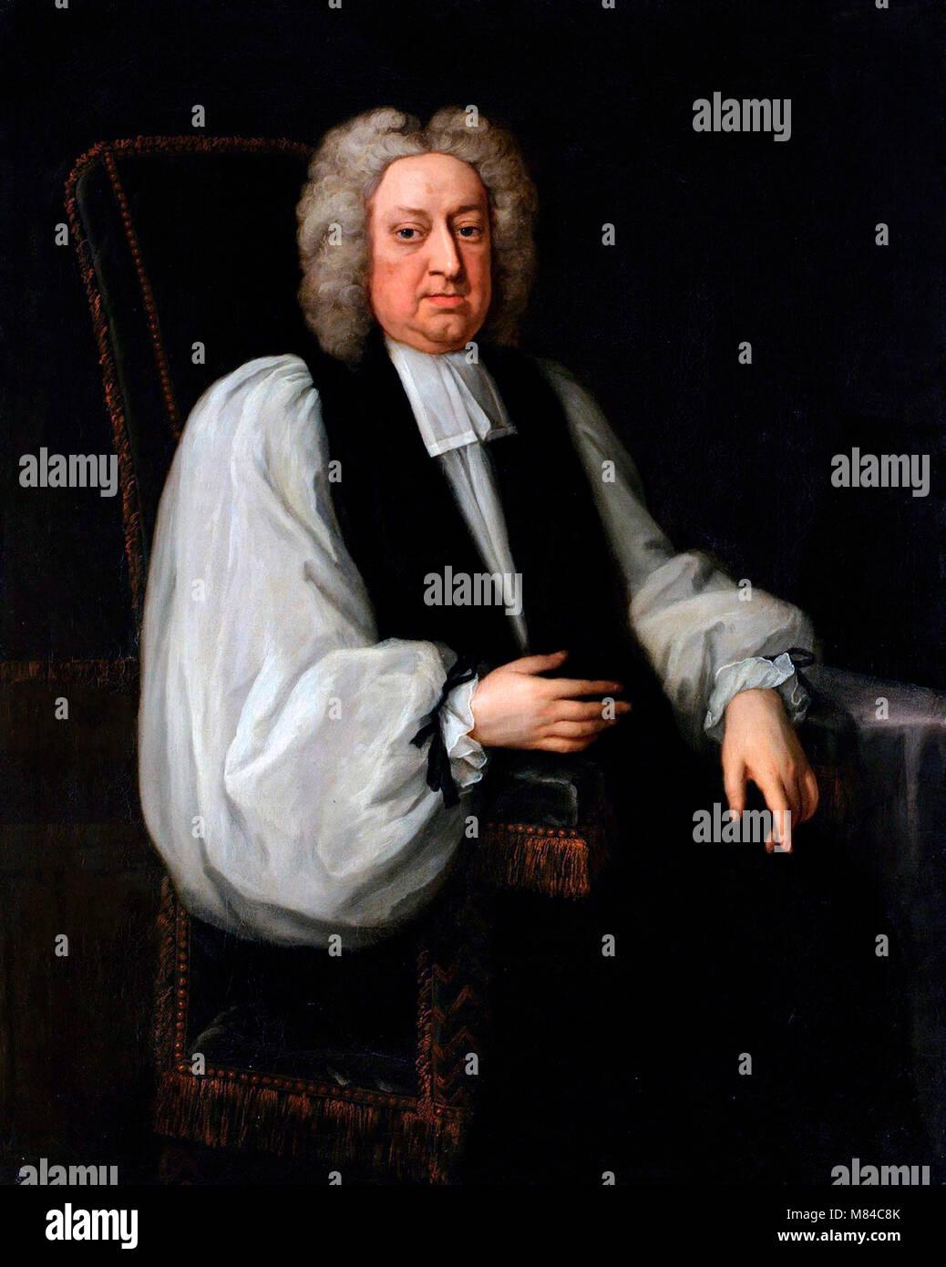 Jonathan Swift (1667-1745). Portrait of the Anglo-Irish satirist Jonathan Swift by Michael Dahl. - Stock Image