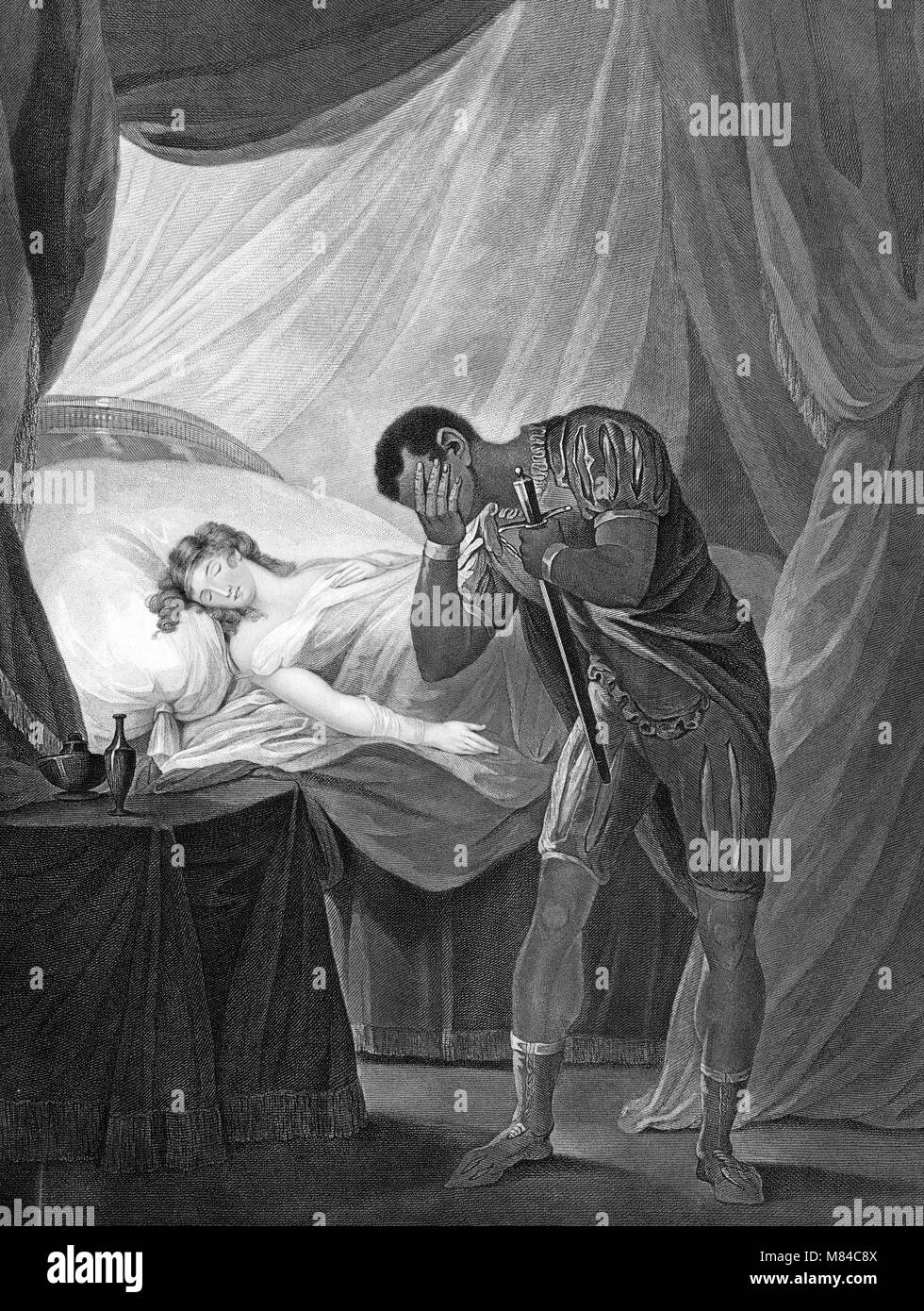 Othello, Act V, Scene II showing Othello with a sword and Desdemona asleep. An engraving by William Satchwell Leney - Stock Image