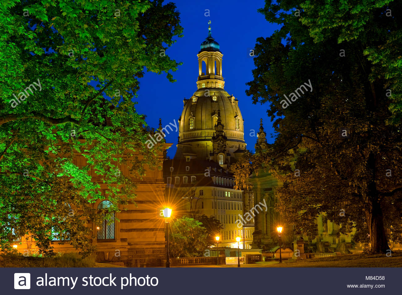 Europe, Germany, Dresden, Saxonia, Saxony. Dresdner Frauenkirche at night. - Stock Image