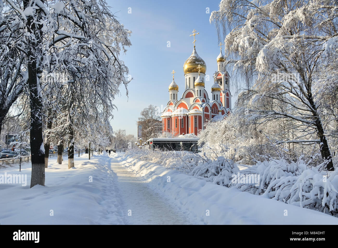 St. George Church in Odintsovo Framed by Trees Covered Snow - Stock Image