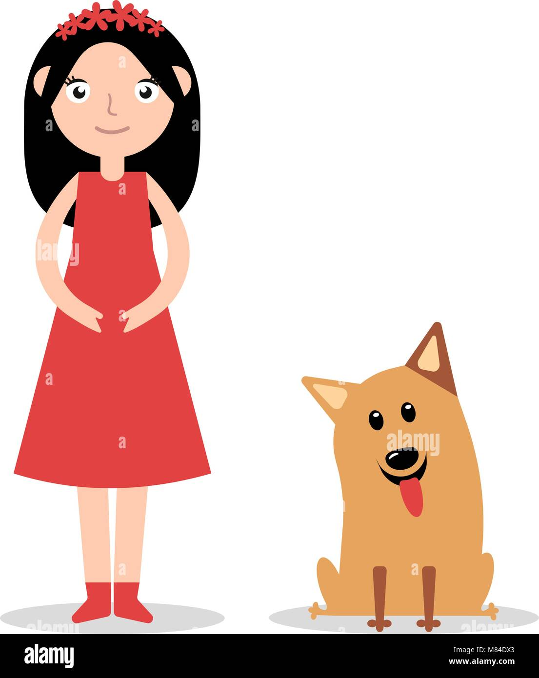 Cute Girl Pet Dog Illustration Stock Vector Images Alamy