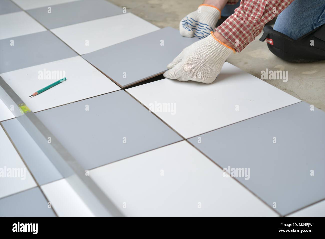 Ceramic Tiles Tools Tiler Floor Stock Photos & Ceramic Tiles Tools ...