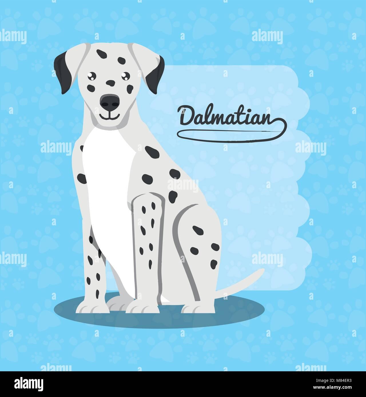 Dalmatian dog icon over blue background, colorful design vector illustration - Stock Vector