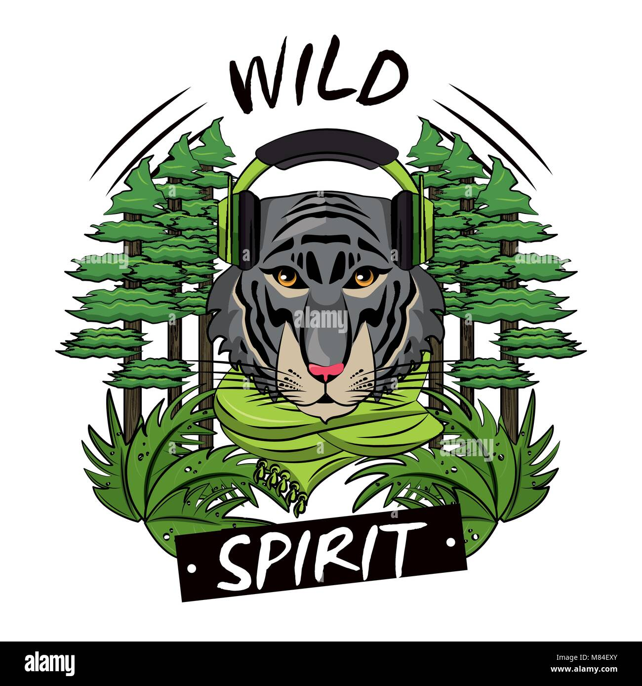 Cool Tiger On Nature Print For Tshirt Vector Illustration Graphic Design