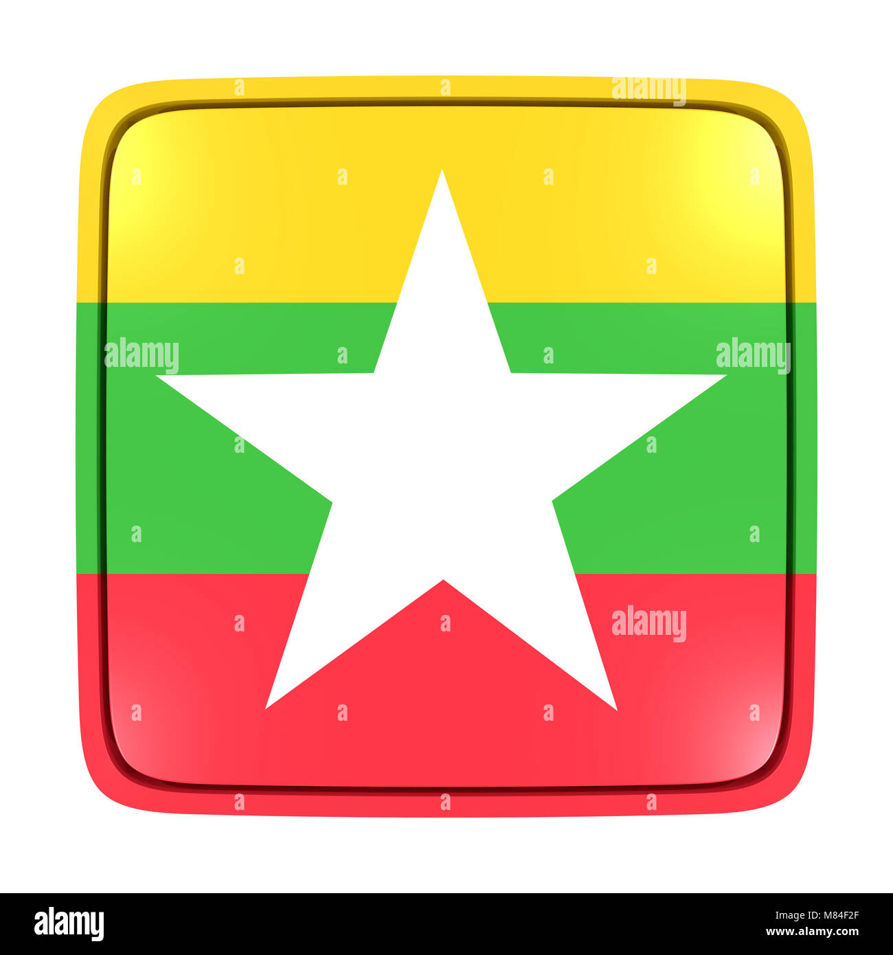 3d rendering of a Myanmar flag icon. Isolated on white background. - Stock Image