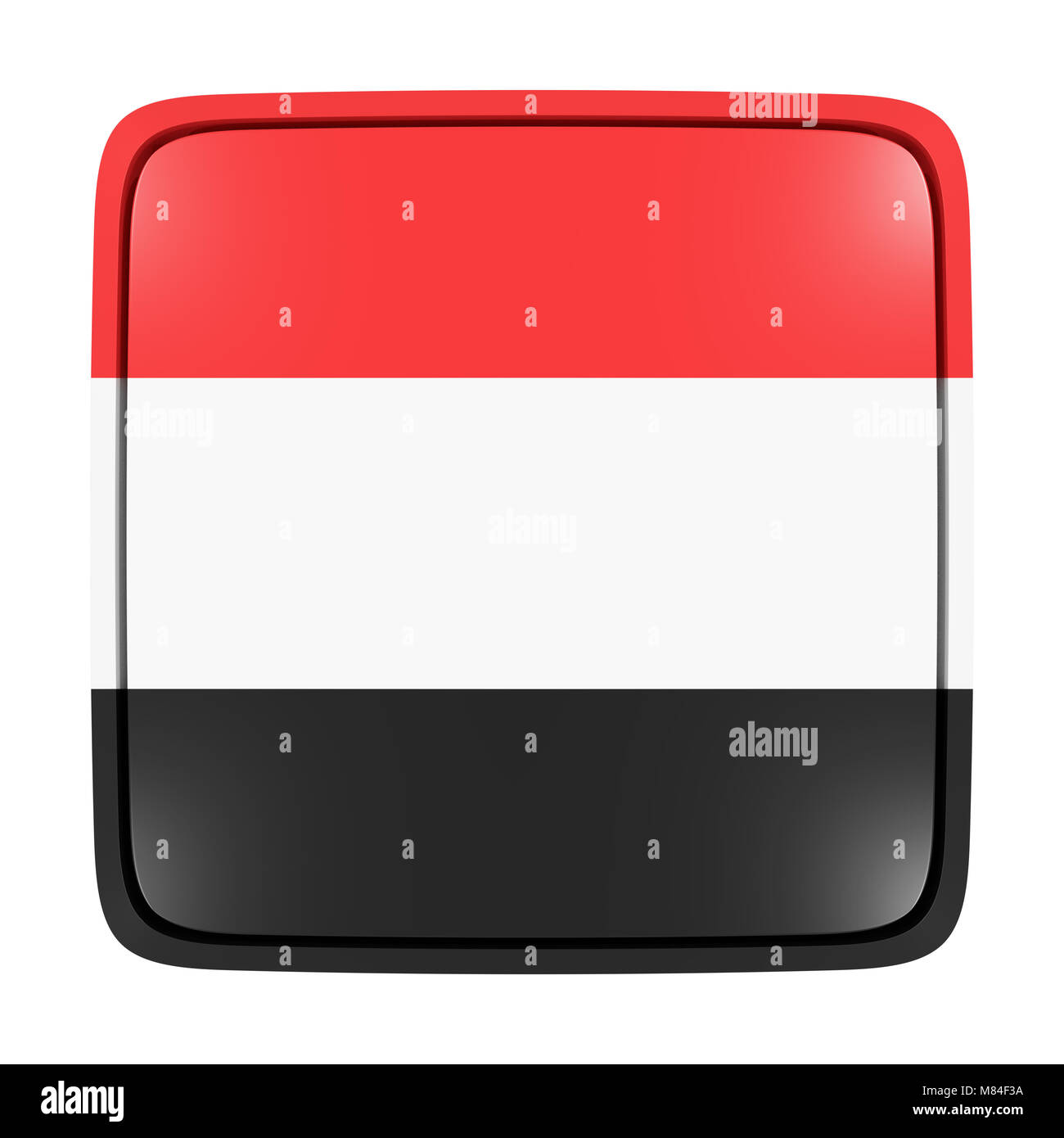 3d rendering of a Yemen flag icon. Isolated on white background. - Stock Image
