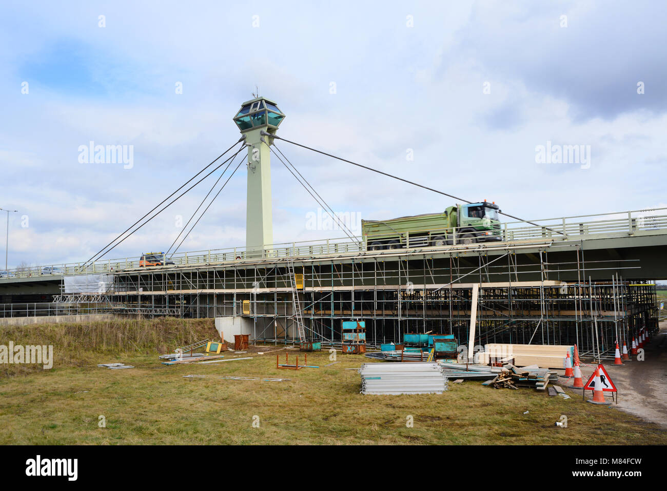 repair work on selby road swing bridge crossing the river ouse yorkshire united kingdom - Stock Image