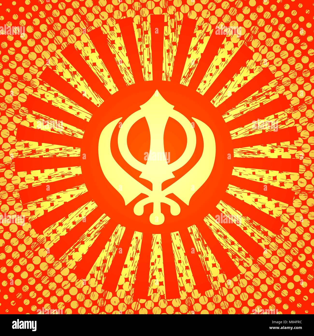 Celebration Holiday Baisakhi. New Year of the Sikhs. Khanda Sikh symbol. In the style of pop art. On a red-orange - Stock Vector