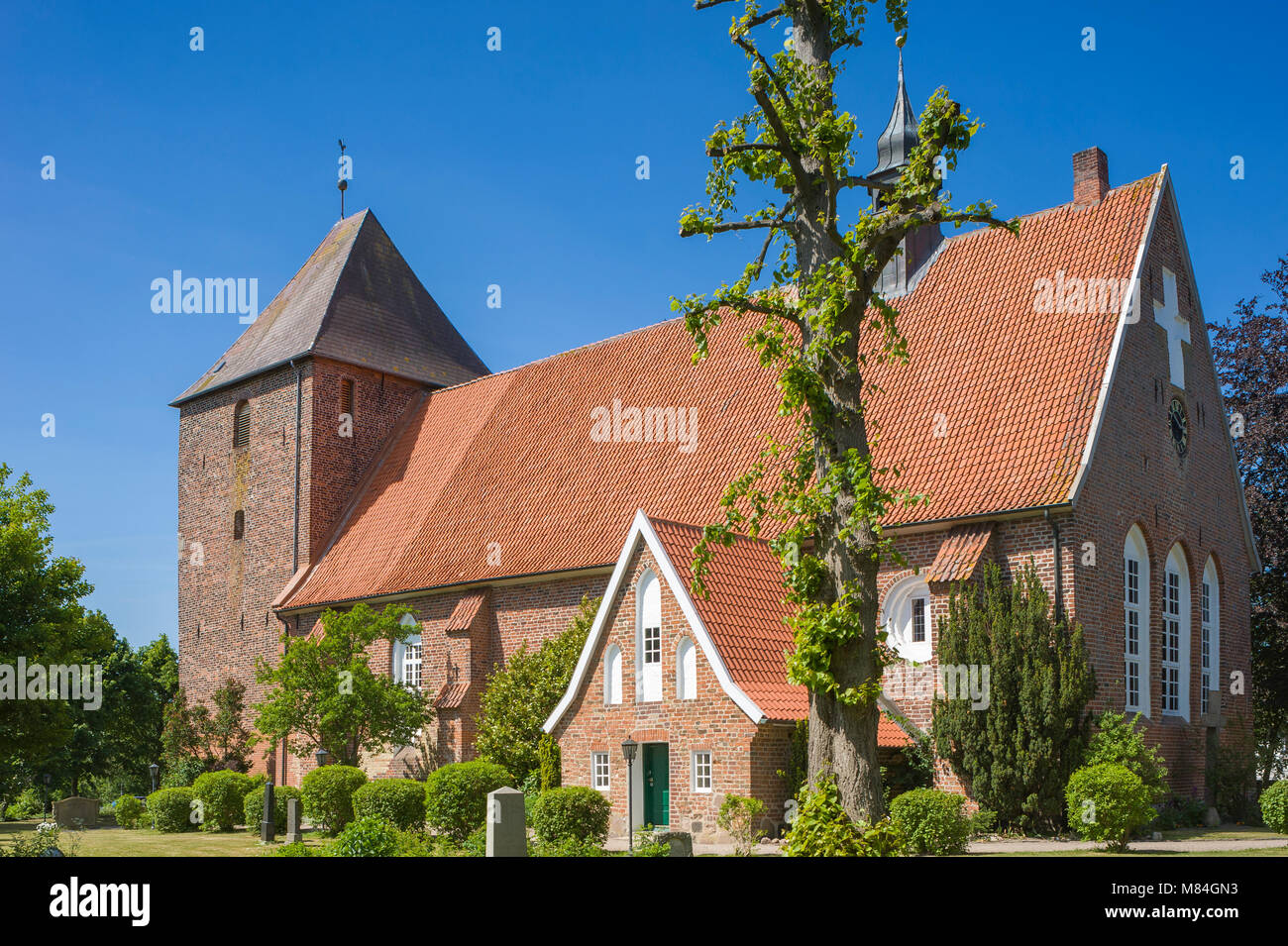 Church Saint Juergen, Grube, Baltic Sea, Schleswig-Holstein, Germany, Europe - Stock Image