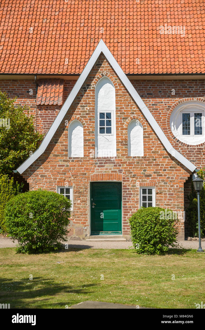 Facade of the historic church Saint Juergen, Grube, Baltic Sea, Schleswig-Holstein, Germany, Europe - Stock Image