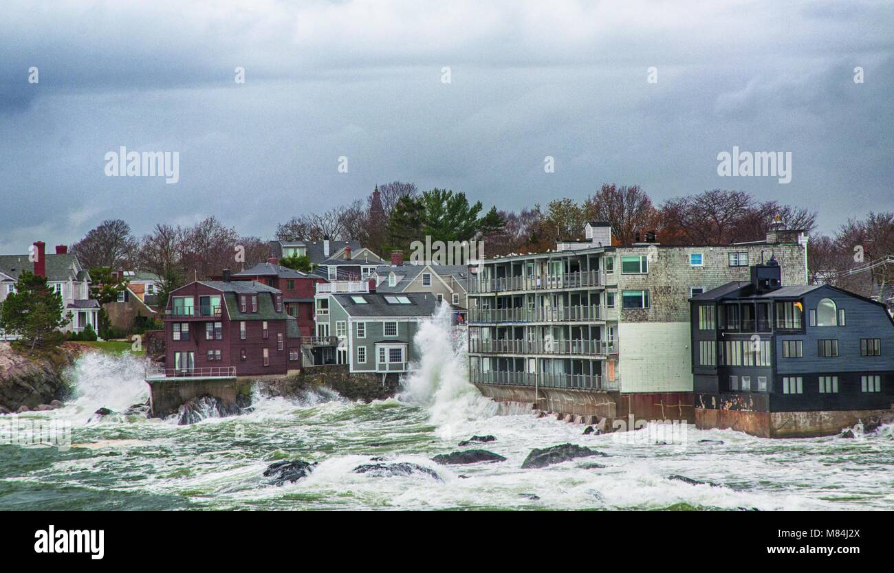 Rough overflowing seas from Hurricane Sandy. - Stock Image