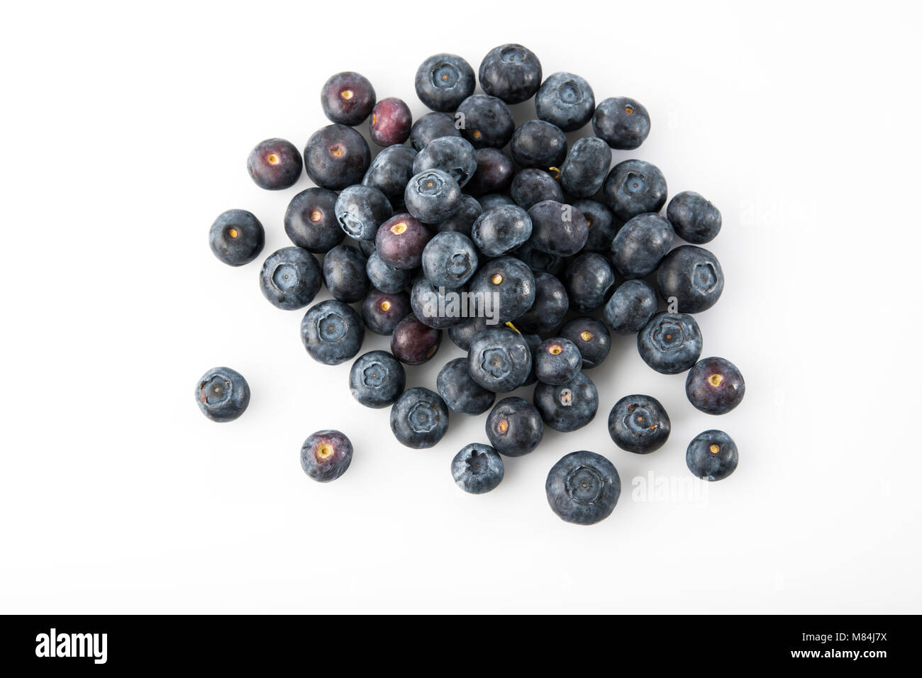 Fruit: Top View of Fresh Blueberries Isolated on White Background - Stock Image
