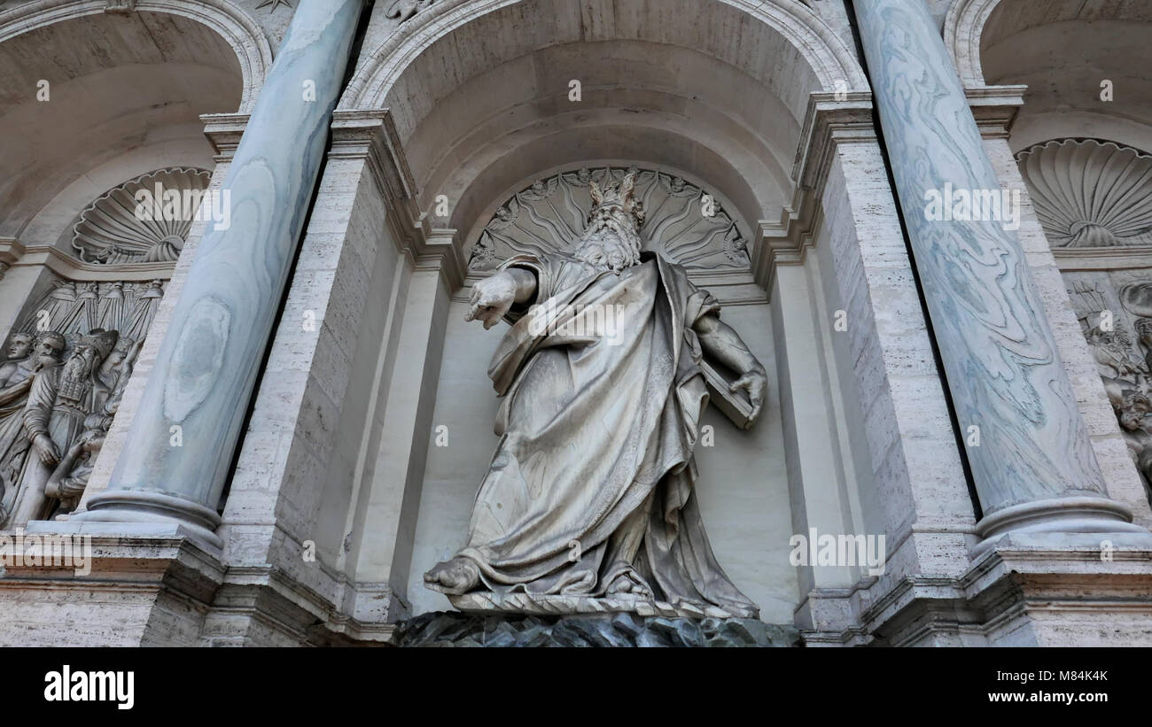 Fontana dell Acqua Felice,aka the Fountain of Moses, located in the Quirinale District of Rome, Italy - Stock Image