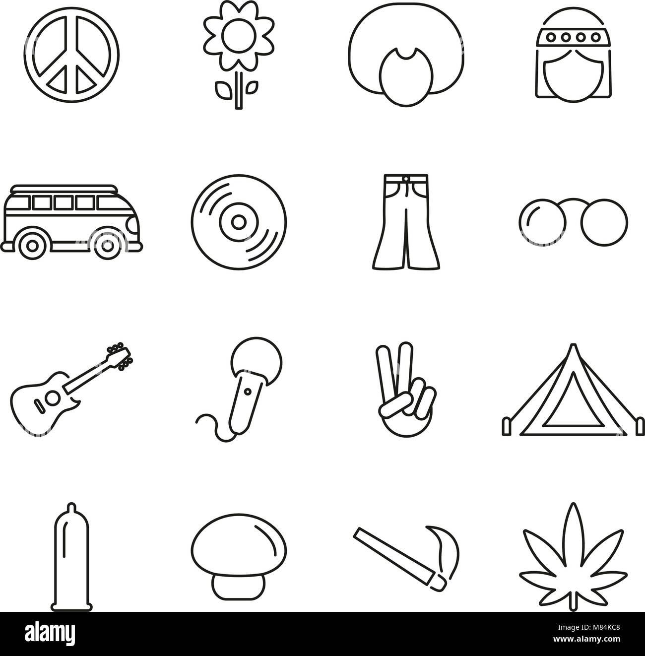 Hippie Culture & Fashion Icons Thin Line Vector Illustration Set - Stock Vector