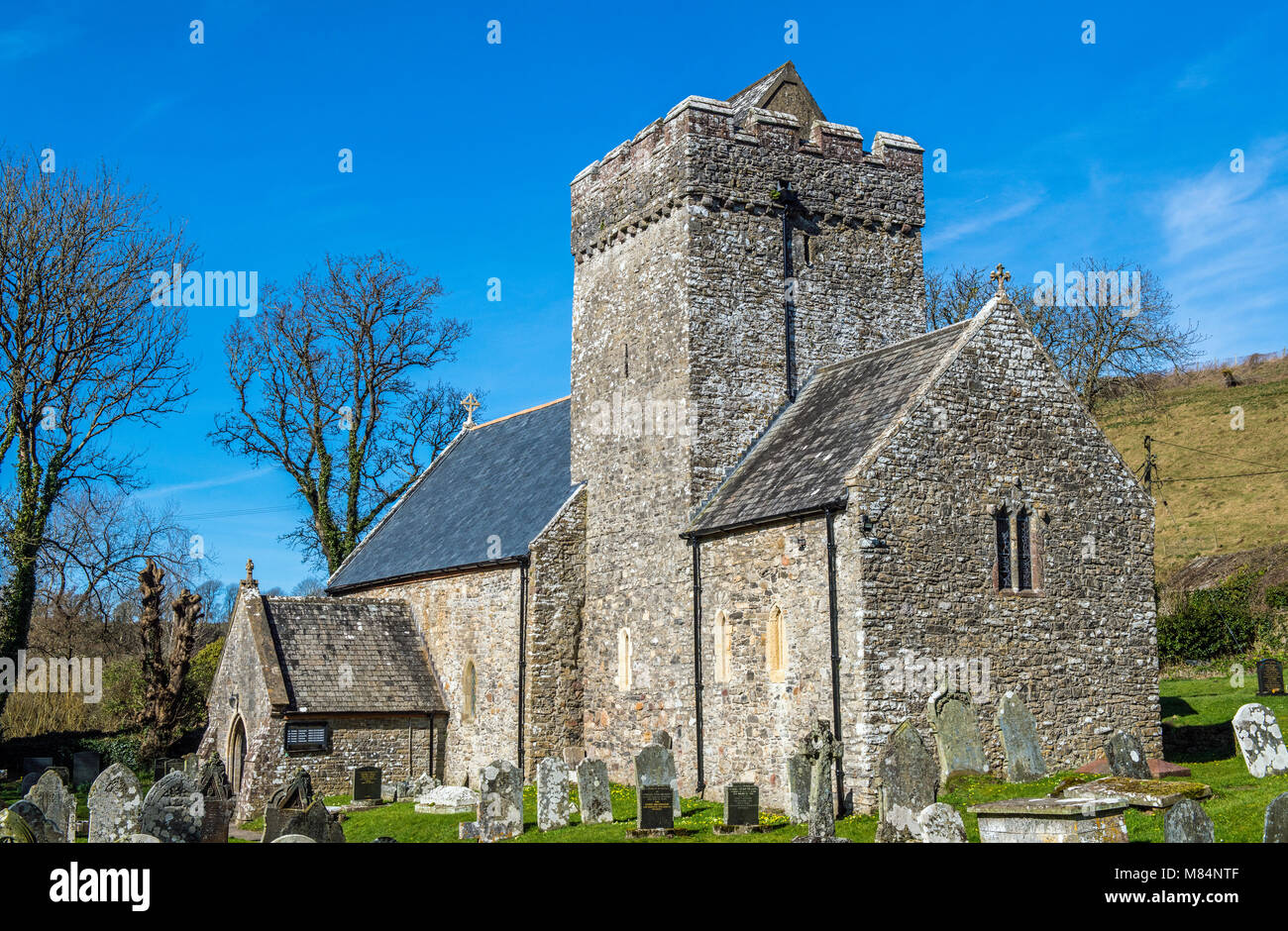 The Parish Church of St Cadoc in Cheriton, Gower, South Wales - Stock Image