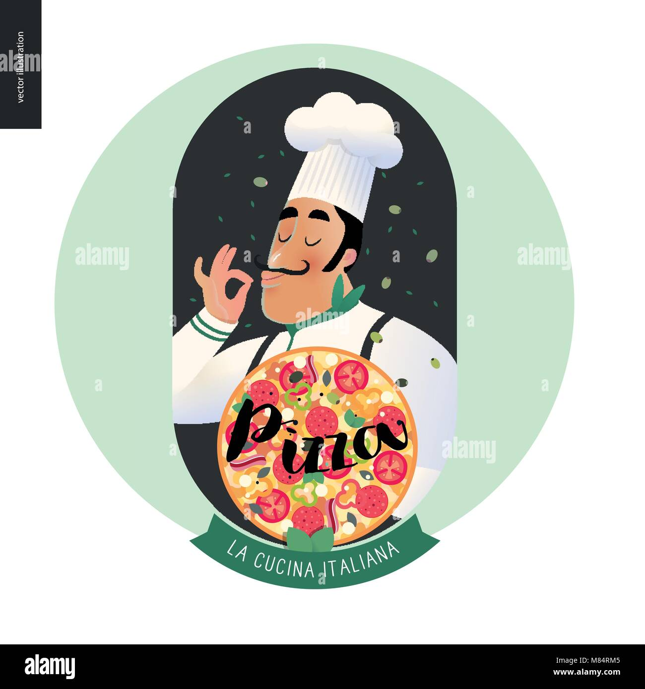Italian Restaurant Set Italian Restaurant Logo With A Cook Enjoing Stock Vector Image Art Alamy