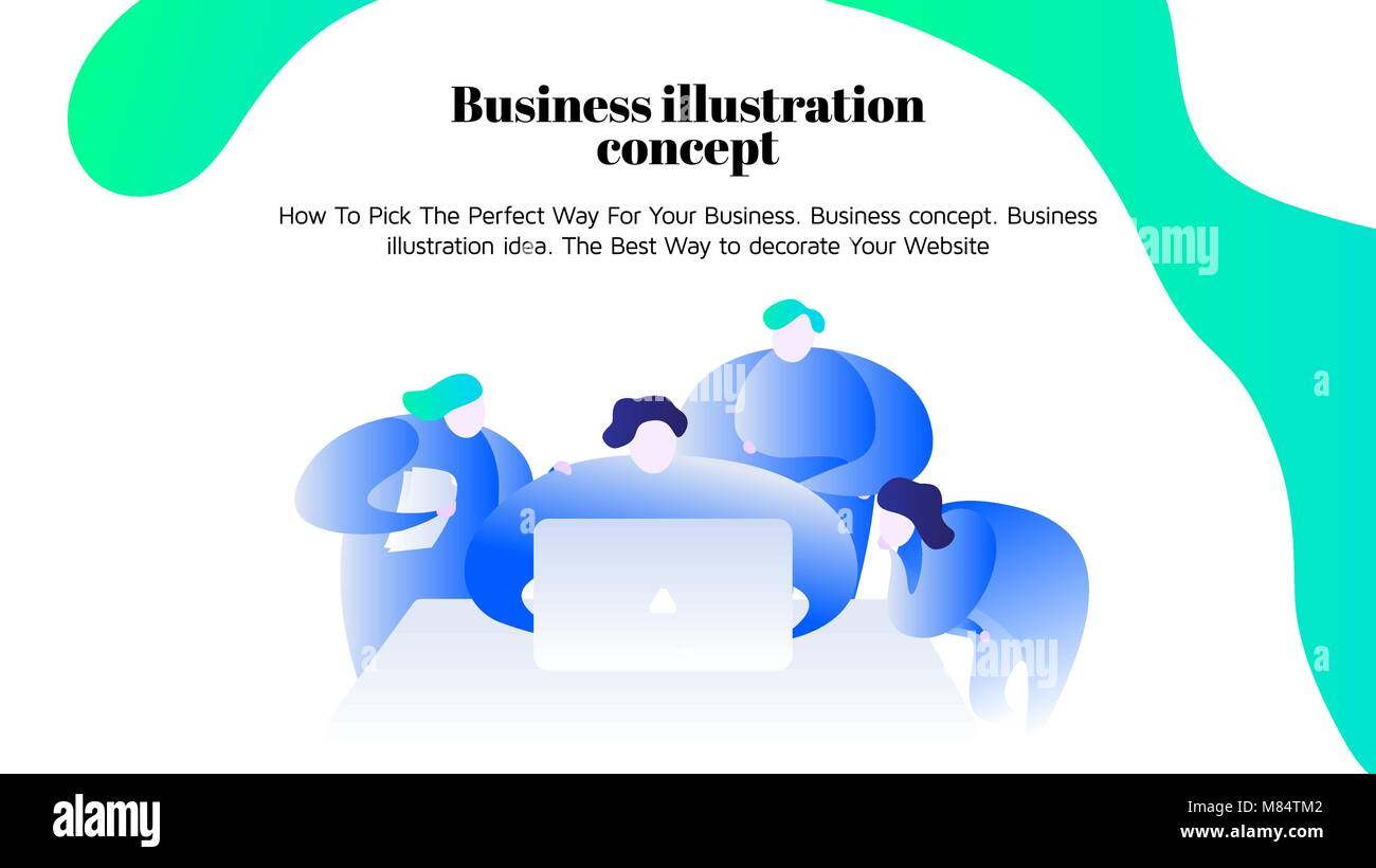 Vector business illustration. Young people work together Freelan - Stock Image