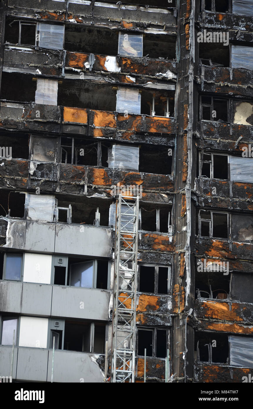 Grenfell Tower, residential social housing tower block tower block, London, fire damage disaster zone - Stock Image