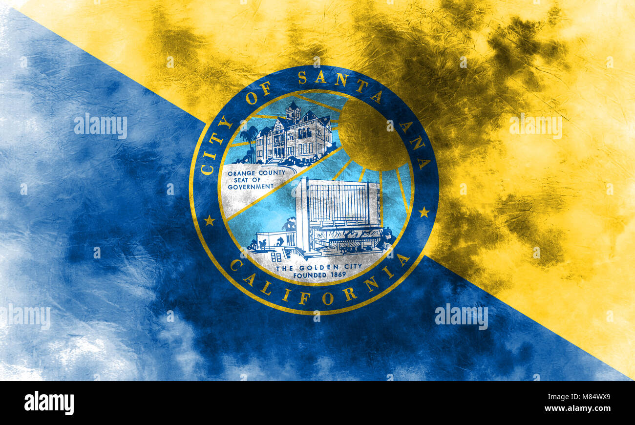 Santa Ana City Grunge Flag California State United States Of America