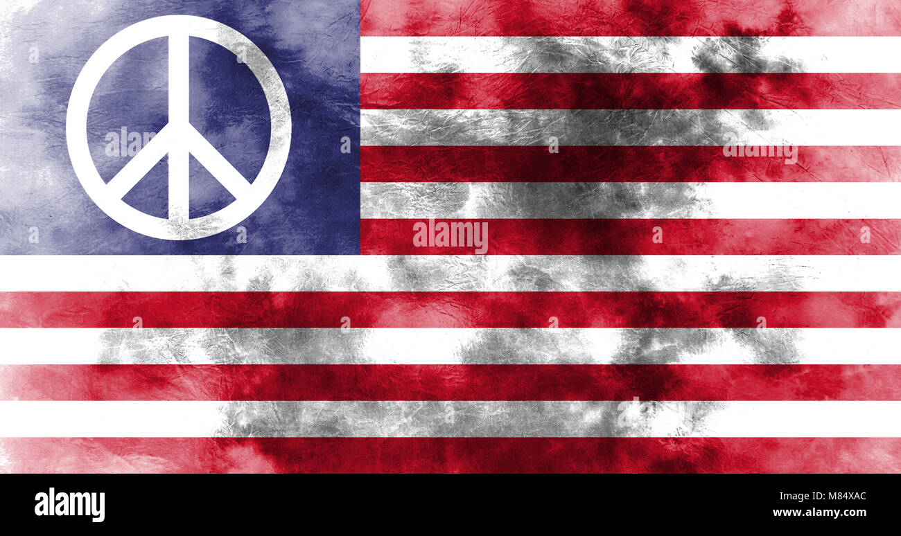 Us Peace Symbol Grunge Flag Stock Photo 177129412 Alamy