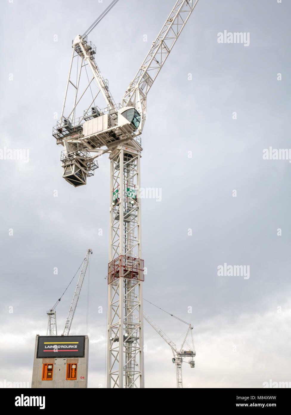 Laing O'Rourke construction with huge construction cranes at St James revamp, Leith Street, Edinburgh, Scotland, Stock Photo