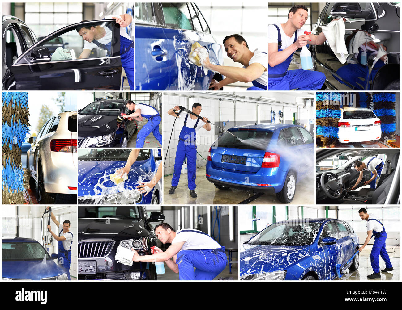 Collage Car wash - employees of a car dealership clean a vehicle professionally - Stock Image