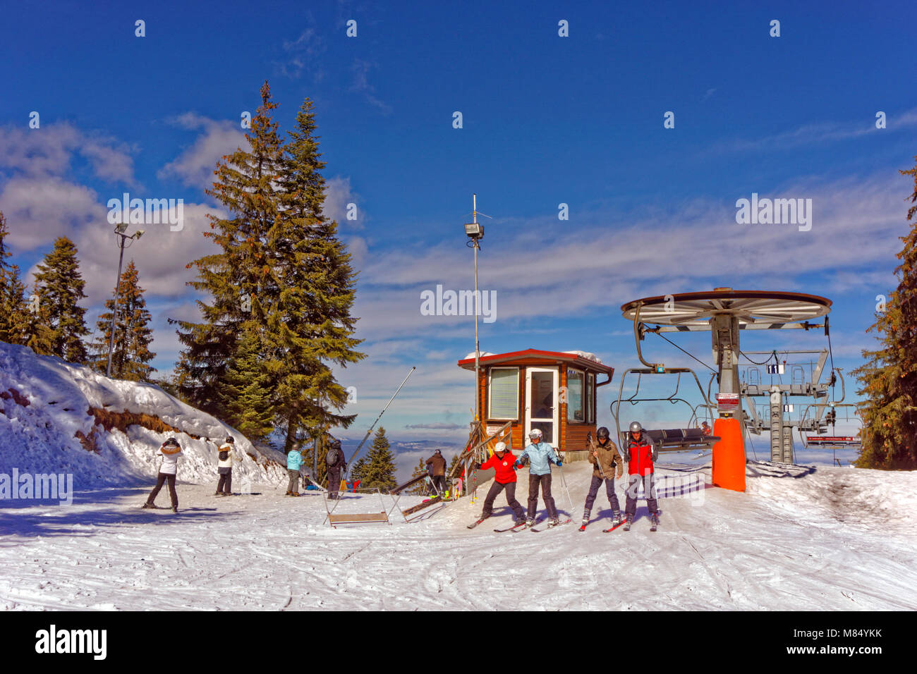 Martinovi Baraki chairlift summit at Borovets Ski resort, Targovishte, Bulgaria. - Stock Image