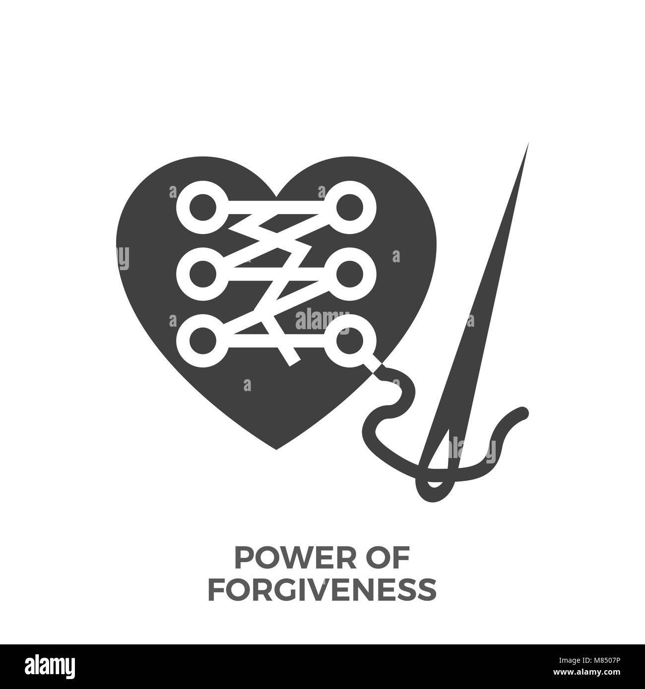 Power of Forgiveness Glyph Vector Icon Isolated on the White Background. - Stock Vector