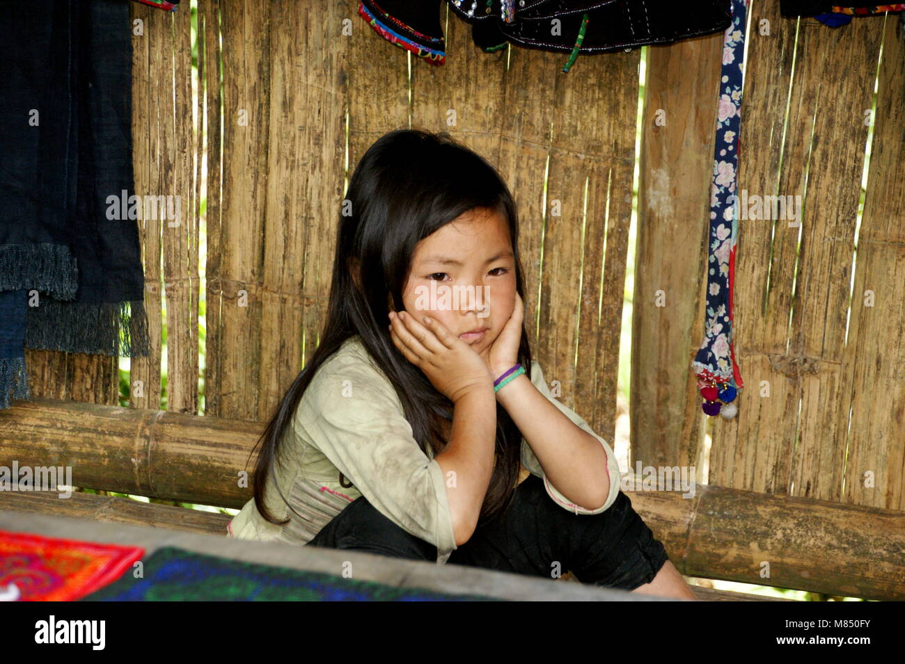 A beautiful Vietnamese girl, a representative of a small ethnic group. National minorities in Sapa. Sapa, Vietnam, Stock Photo
