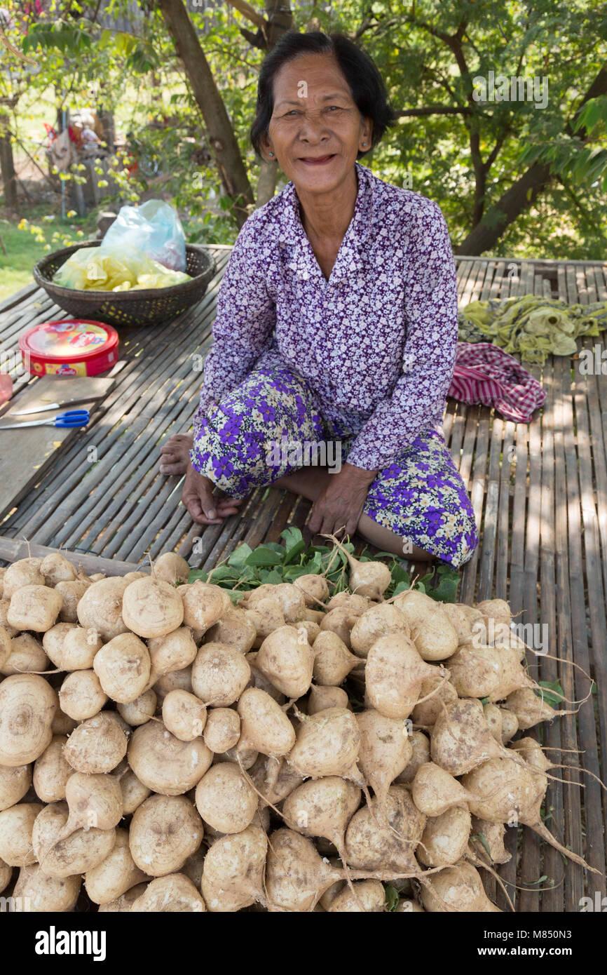 Cambodia - woman selling sugar beet at a roadside market stall, Kampong Cham, Cambodia, Asia - Stock Image