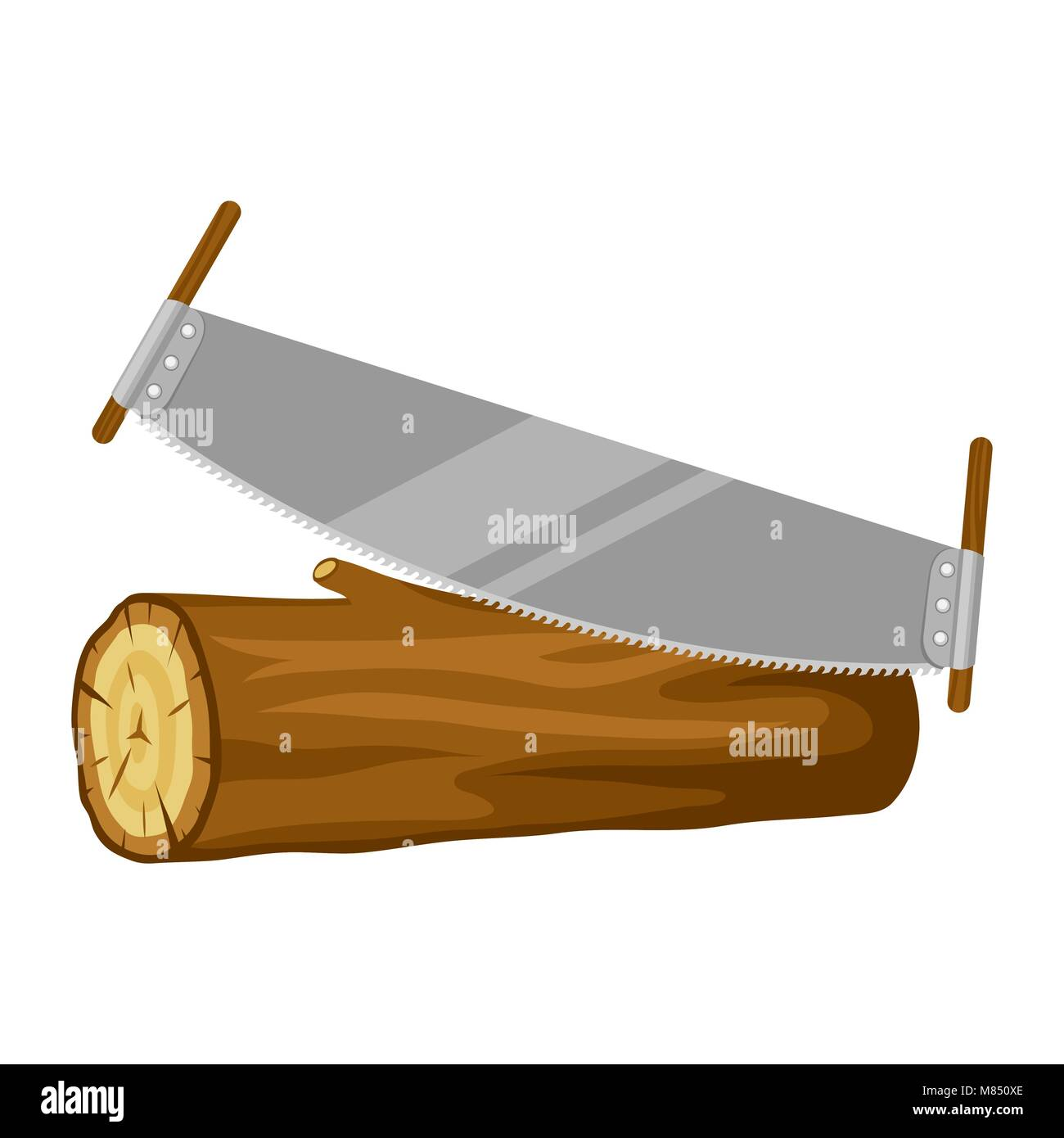 Saw and wood log. Illustration for forestry and lumber industry - Stock Image