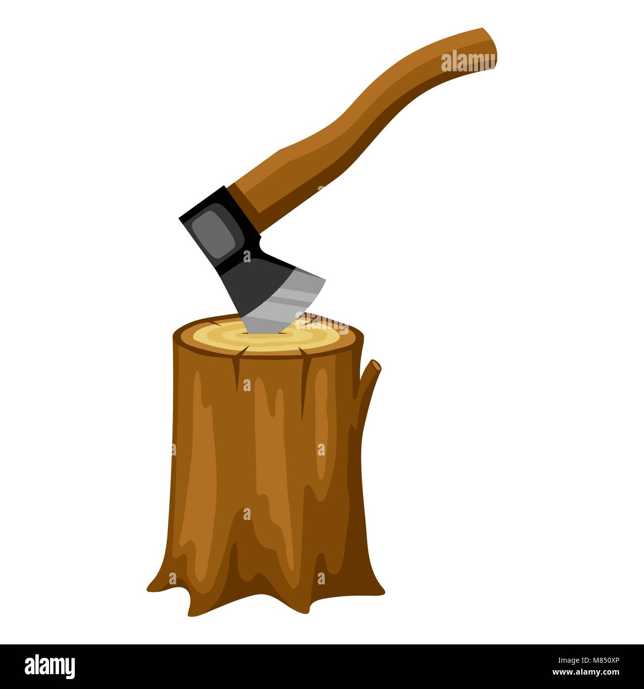 Axe and wood stump. Illustration for forestry and lumber industry - Stock Image