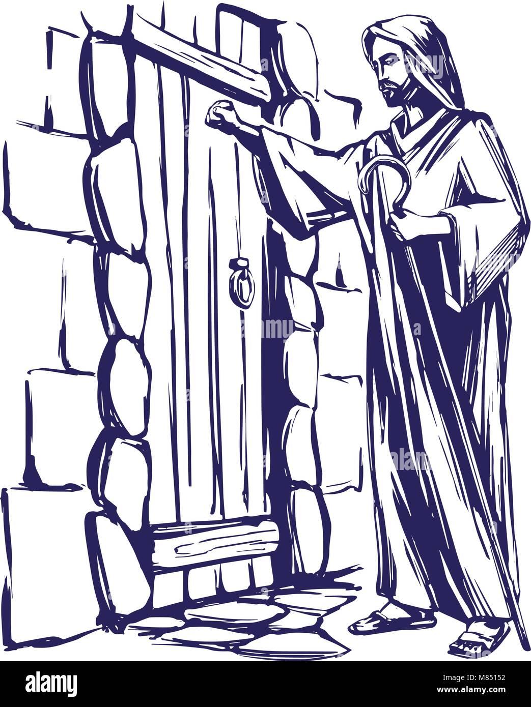 Door knock stock vector images alamy jesus christ son of god knocking at the door symbol of christianity hand drawn altavistaventures Gallery
